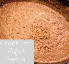 Crockpot Refried Beans (can be frozen). Remember to soak the dry beans overnight first and discard the soaking water in order to remove phytic acid which prevents absorption of nutrients. Rib Recipes, Roast Recipes, Side Dish Recipes, Veggie Recipes, Slow Cooker Recipes, Crockpot Recipes, Recipe For Homemade Refried Beans, Crockpot Refried Beans, Rib Roast Recipe