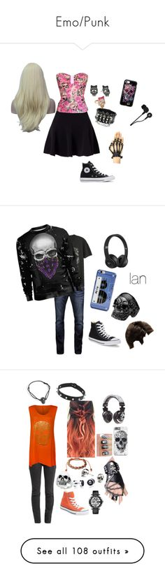 """Emo/Punk"" by pinkleopardchick ❤ liked on Polyvore featuring Miss Selfridge, Converse, Betsey Johnson, Casetify, Skullcandy, Jack & Jones, Gap, Kate Spade, Beats by Dr. Dre and men's fashion"