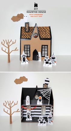 Channel all that pre–trick-or-treating energy into a crafty kids' activity, like making #DIY cardboard haunted houses.