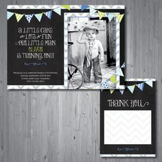 chevron banner Birthday Invitation first by AbbyReeseDesign