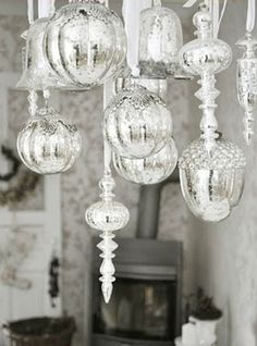 Hang Mecury Glass Ornaments From The Chandelier