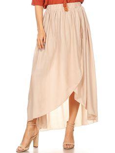 Boho Elastic High-Waist Maxi Skirt - onesize / Tan