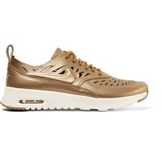Nike Air Max Thea Joli metallic cutout textured-leather sneakers (5,630 PHP) via Polyvore featuring shoes, sneakers, bronze, metallic shoes, cut out sneakers, geometric shoes, metallic sneakers and nike sneakers