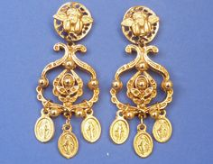 EARRING SAINT PROTECTOR vintage baroque gold angel di SissiHand