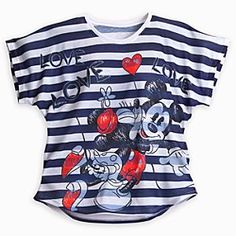 Disney Mickey and Minnie Mouse Striped Tee for Women - Navy $32.95
