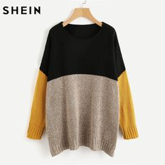 SHEIN Color Block Marled Knit Sweater Long Sleeve Jumper Autumn Winter Multicolor Long Sleeve Oversized Pullovers #SheIn #sweaters #women_clothing #stylish_sweater #style #fashion