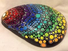 Hand Painted Stone with Rainbow Dots