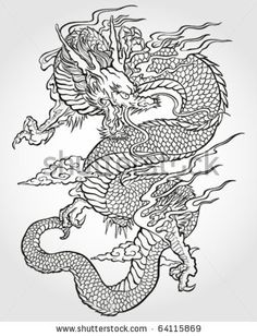 Tradition Asian Dragon Illustration by Tairy Greene, via ShutterStock