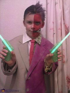 Karen: My son loves batman and decided he wanted to be Two-Face. The makeup part was easy,but the costume has hours of work put in! We scoured charity shops for a...