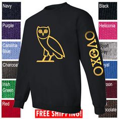 d39d8dae623 OVOXO Crewneck OVO Drake October s Very Own Sweatshirt Gold Owl Sweater  Shirt A