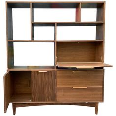 For Sale on - A handcrafted midcentury style walnut wall unit/room divider, beautifully finished on both back and front. Features Drop down bar or secretary desk with Bookcase Wall Unit, Room Divider Bookcase, Walnut Bookcase, Wall Shelving Units, Room Divider Walls, Room Dividers, Mid Century Modern Bookcase, Mid Century Desk, Black And White Dining Room