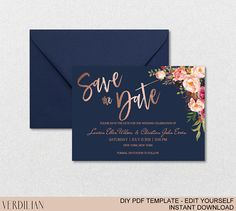 Save The Date Template - Navy Rose Gold Floral Blush Peonies Bouquet - Printable DIY PDF editable te - Gold Save The Dates, Floral Save The Dates, Wedding Save The Dates, Save The Date Cards, Save The Date Ideas Diy, Save The Date Wording, Backyard Wedding Invitations, Wedding Invitation Wording, Wedding Backyard