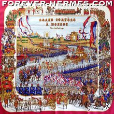 """Now this is a Grail for the Russian gentlemen evermore so for the #RussianPatriot and now in store http://forever-hermes.com #ForeverHermes this Hermes silk scarf designed by Michel Duchene titled """"Grand cortège a Moscou """" and depicts stunning army soldiers in ceremonial attire, grand generals, and all the glory of the #Russian Army of long ago, an incredibly complicated and vibrant pageant of military and #equestrian #chivalry units parading. #Hermes #Russia #HermesCarre #HermesScarf #Scarf"""