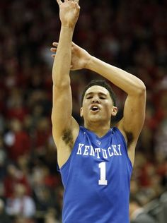 Kentucky's Devin Booker celebrates a three he just made. Go ahead Devin!!
