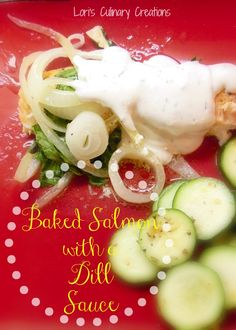 Baked Salmon in a foil pack eliminates all that clean up and cooks up flavorful salmon.  Baked with onion and spinach and topped with a sour cream dill sauce, this one is amazing!  This can also cook up nicely over the campfire. Just use heavy duty foil. www.lorisculinarycreations.com  #foilpack  #campingmeal
