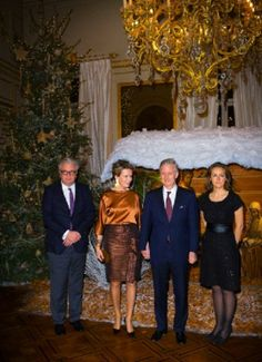(L-R) Belgium's  Prince Laurent, Queen Mathilde, King Philippe and Princess Claire attend the Christmas concert at the Royal Palace in Brussels, 11. Dec 2013.