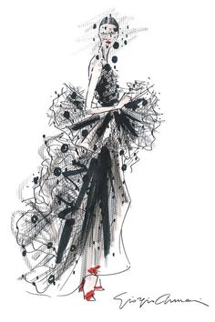 womensweardaily:  A sketch of Armani Privé for fall. Courtesy Photo