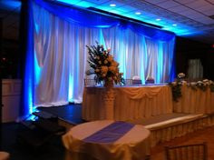 Wedding draping and blue uplighting