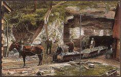 Birmingham, Alabama Vintage Postcard - Coal Mine with Horse Drawn Wagon and Miners