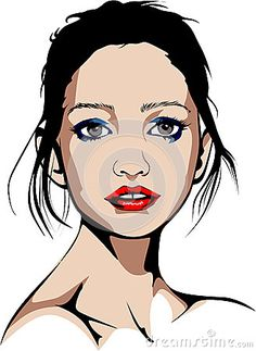 Elaborated Colored vector illustration of a glittering blue-eyed woman with red lipstick and blue makeup.
