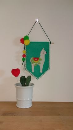 Felt Banner, Wall hanging, Nursery decor, llama, wall art
