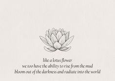Part of the reason I got a lotus tatoo. To remind myself.