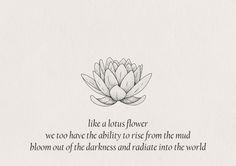 Part of the reason I got a lotus tatoo. To remind myself.