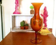 Mid century vase, Large amber glass vase, Cased amber glass milk glass vase, Slag glass vase, End of Day glass vase, Vintage glass vase