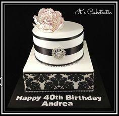 Black and white damask 40th birthday cake
