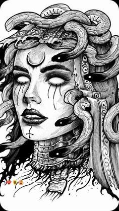 Medusa Tattoo Design, Tattoo Design Drawings, Tattoo Sleeve Designs, Tattoo Sketches, Sleeve Tattoos, Medusa Drawing, Medusa Art, Dark Art Drawings, Art Drawings Sketches
