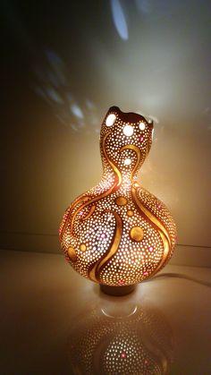 Handmade gourd lamp by Die Kürbiswerkstatt