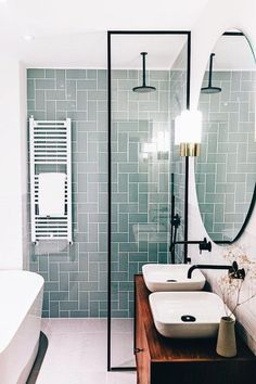 Beautiful bathroom decor tips. Modern Farmhouse, Rustic Modern, Classic, light and airy master bathroom design some ideas. Bathroom makeover ideas and master bathroom renovation suggestions. Modern Bathroom Design, Bathroom Interior Design, Bathroom Designs, Bath Design, Kitchen Interior, Interior Ideas, Kitchen Design, Apartment Interior, Apartment Kitchen
