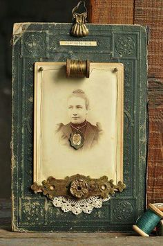 I love that they used a beat up vintage book cover here with an old photo. is creative inspiration for us. Get more photo about home decor related with by looking at photos gallery at the bottom of this page. Antique Photos, Old Photos, Vintage Photos, Vintage Photographs, Vintage Crafts, Vintage Books, Vintage Diy, Altered Books, Mixed Media