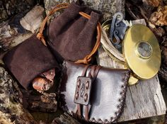 A matching collection made for one very lucky customer. All leather pouches were hand made by Beaver Bushcraft and made to go with this beautiful Brass Hudson bay Tinder box with hand made Viking traditional Fire Steel.