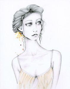 Pencil Drawing Fashion Illustration Giclee Fine by ABitofWhimsyArt, $30.00
