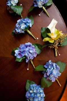 Prendidos para novio, con flores hortensias.