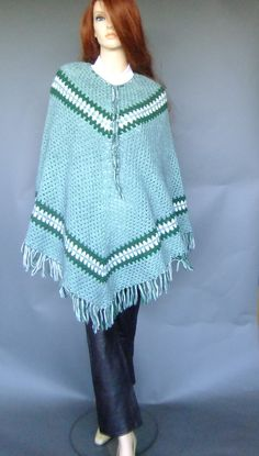 70s green knit poncho, vintage poncho, boho hippie outerwear by vintage2049 on Etsy