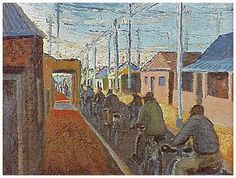 Cyclists in Sophiatown - Gerard Sekoto, 1942 Gerard Sekoto, South Africa Art, Social Realism, South African Artists, Black Art, Portraits, Les Oeuvres, Sculptures, The Past
