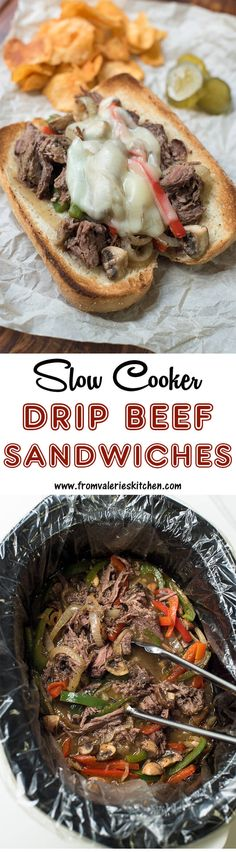 Perfectly seasoned, incredibly tender, juicy Slow Cooker Drip Beef Sandwiches! ~ https://www.fromvalerieskitchen.com