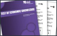 Test of Economic Knowledge: Grades 7-9 | Measure the economic understanding of your 7th, 8th and 9th grade students. Booklets have 40 questions each and the examiner's manual contains detailed explanations of each question and answer | MEDIA TYPE Print | GRADES 6-8, 9-12 | SUBJECT General Economics