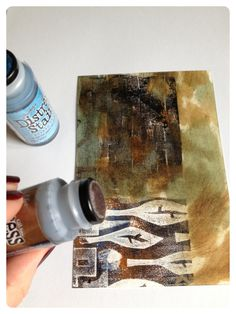 Really good ideas after using gelli plate...also shows good ideas for making your own stamps...jtr   Gelli printing with distress stain