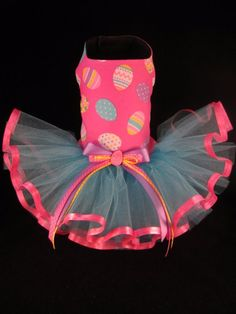 Happy Easter Eggs Dog Tutu Dress SMALL _  #HandMadebyKim
