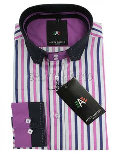 Mens Designer Multi Coloured Striped Pink Shirt (J4)