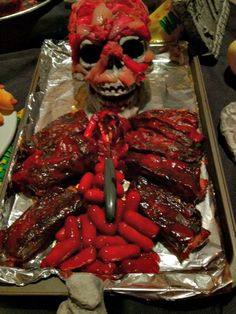 edible skeleton for halloween and a few more of the items i served on our - Gory Halloween Food Ideas