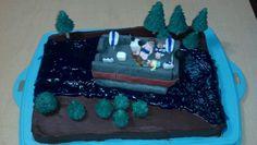 Dad's birthday cake 2013 - pontoon boat on river Lake Cake, Dad Birthday Cakes, Pontoon Boat, River, Desserts, Ideas, Food, Tailgate Desserts, Deserts