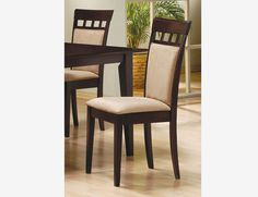 2 PC Cappuccino Wood Cushion Back Side Chair Fabric Seat 100773