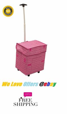 Folding Rolling Multipurpose Collapsible Basket Cart Pink Smart Scrapbookin New #dbestproducts