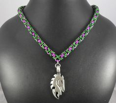 nck083 #Necklace: #Purple and #Green with #Equine #Pendant. $50.00, via #Etsy.  #handmade #chainmaille #jewelry #horse #violet #emerald #fashion #style