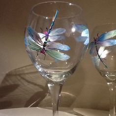 Irredesent dragonfly wine glass by TheUniqueMiniBoutiqu on Etsy