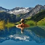 Amazing pool view from The Cambrian Hotel, Switzerland Travel Planner, Trip Planner, Swiss Alps, Hotel S, Business Travel, The Best, Mount Everest, Caribbean, Waves
